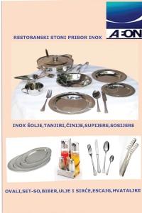 INOX SITNI INVENTAR ZA RESTORANE- HACCP standard-supijere,sosijere, poslužavnici okugli konobarski-ajnceri,poslužavnici pravogaoni za kanapee,ovali za meso,ovali za ribu, tembala, čajnici, bokali za mleko,inox šolje za čaj,šolje za supu,tanjiri inox plitki-duboki-desertni,stone garniture za so-biber-ulje-sirće,dozatori za šećer, pribor za služenje I pribor za jelo- escajg, kašičice za limunadu-čaj, espresso-cappuccino-limunadu-sladoled,viljuškica desertna, INOX nosači stubni I stoni kible za bocu, kibla za šampanj,kibla veća na stopi za više manjih boca, kiblice za led, posuda za podgevanje-ben mari-diš sa ravnim ili rol poklopcem na gel,gastro posuda za podgevanje supe sa poklopcem na gel,lonac gastro za podgrevanje supe veliki električni, gastronom GN posude,kolica konobarska-inox,stubni stalak za posudu za hladjenje pića …