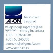 AEON DOO BEOGRADVeleprodaja ugostiteljske opremeVladimira Gaćinovića14 11040 BeogradTel/fax: 011/2 661-618Mob.:063-246-680E-mail:aeon.mrdja@gmail.comwww.aeon.co.rs
